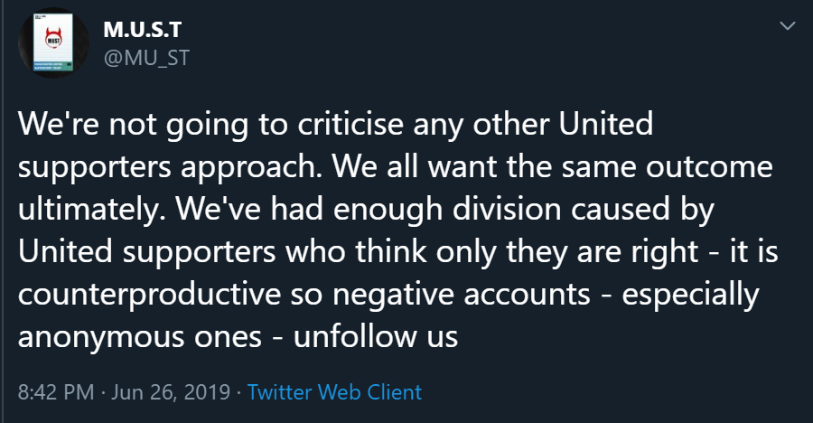 We're not going to criticise any other United supporters approach. We all want the same outcome ultimately. We've had enough division caused by United supporters who think only they are right - it is counterproductive so negative accounts - especially anonymous ones - unfollow us