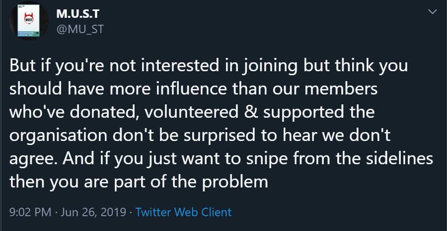 But if you're not interested in joining but think you should have more influence than our members who've donated, volunteered & supported the organisation don't be surprised to hear we don't agree. And if you just want to snipe from the sidelines then you are part of the problem
