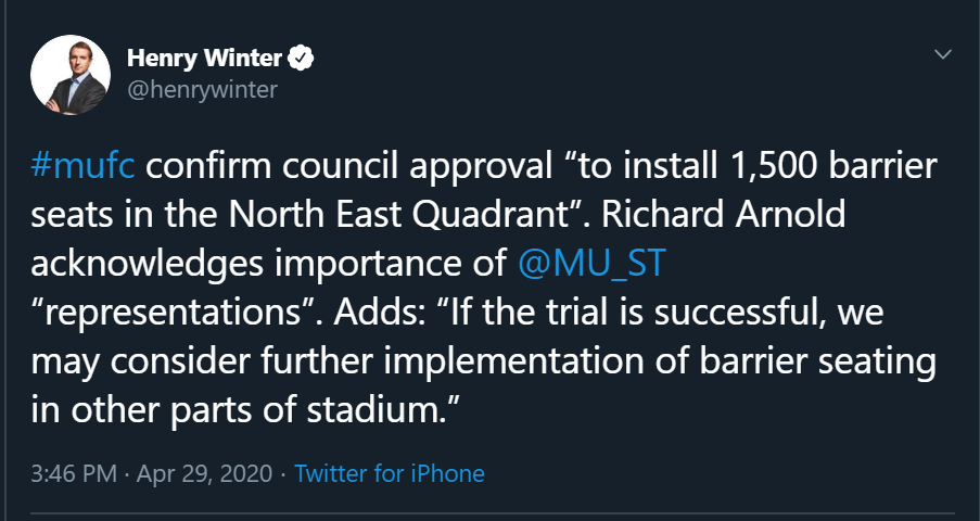 "#mufc confirm council approval ""to install 1,500 barrier seats in the North East Quadrant"". Richard Arnold acknowledges importance of  @MU_ST  ""representations"". Adds: ""If the trial is successful, we may consider further implementation of barrier seating in other parts of stadium."""