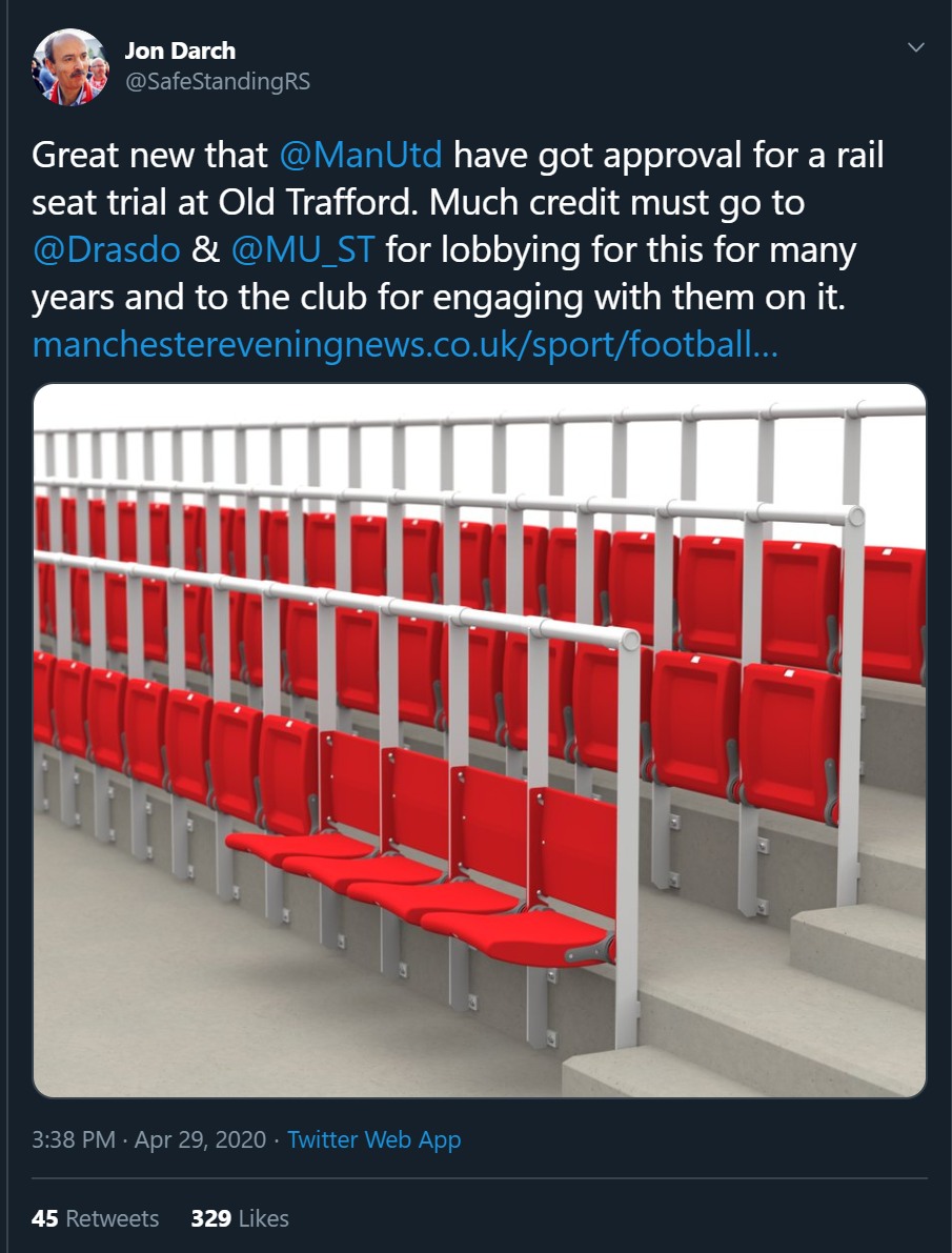 Great news that  @ManUtd  have got approval for a rail seat trial at Old Trafford. Much credit must go to  @Drasdo  &  @MU_ST  for lobbying for this for many years and to the club for engaging with them on it.