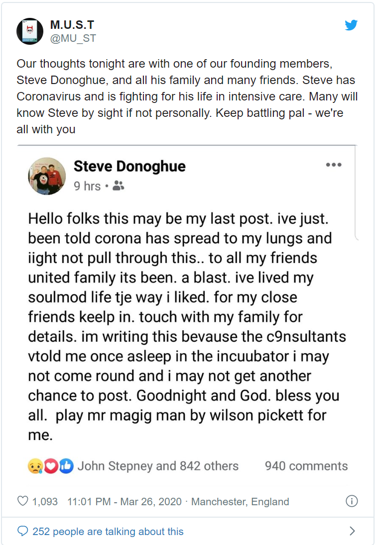 Our thoughts tonight are with one of our founding members, Steve Donoghue, and all his family and many friends. Steve has Coronavirus and is fighting for his life in intensive care. Many will know Steve by sight if not personally. Keep battling pal - we're all with you