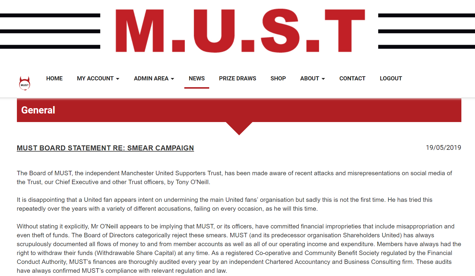 MUST BOARD STATEMENT RE: SMEAR CAMPAIGN