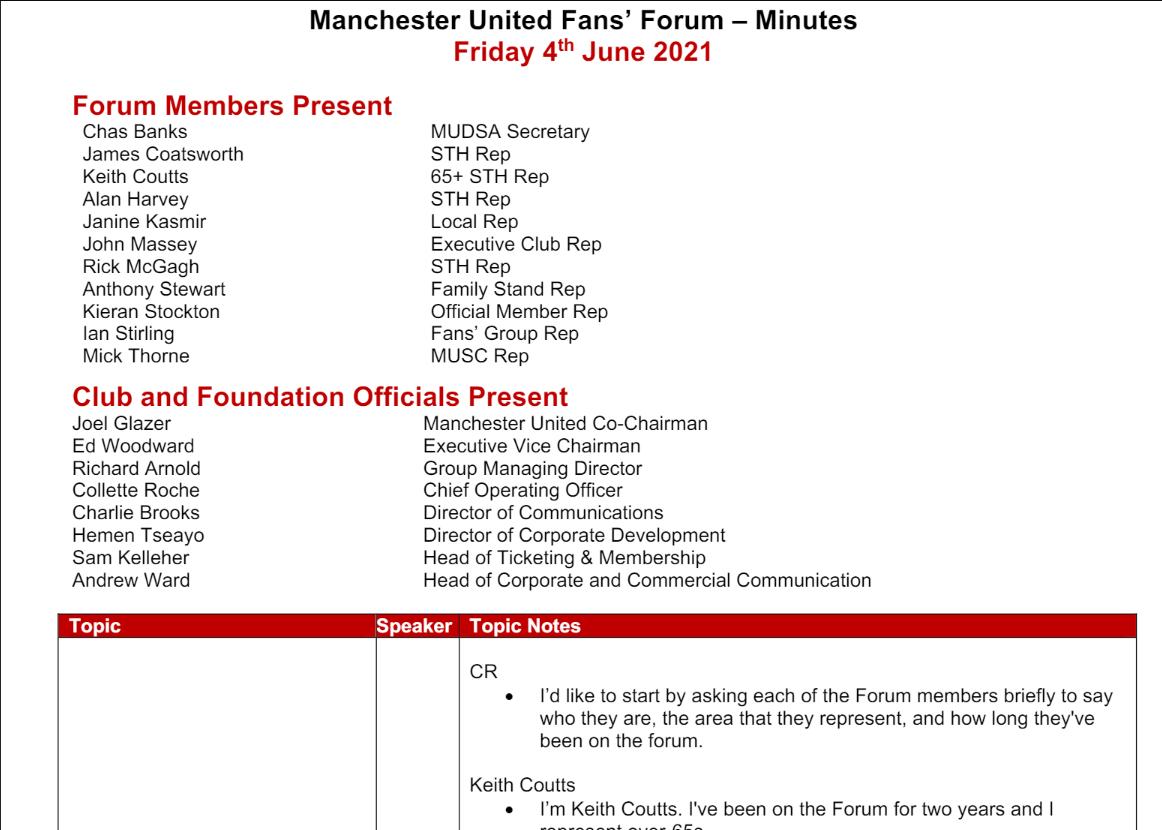 FANS' FORUM MEETING MINUTES 4th June 2021