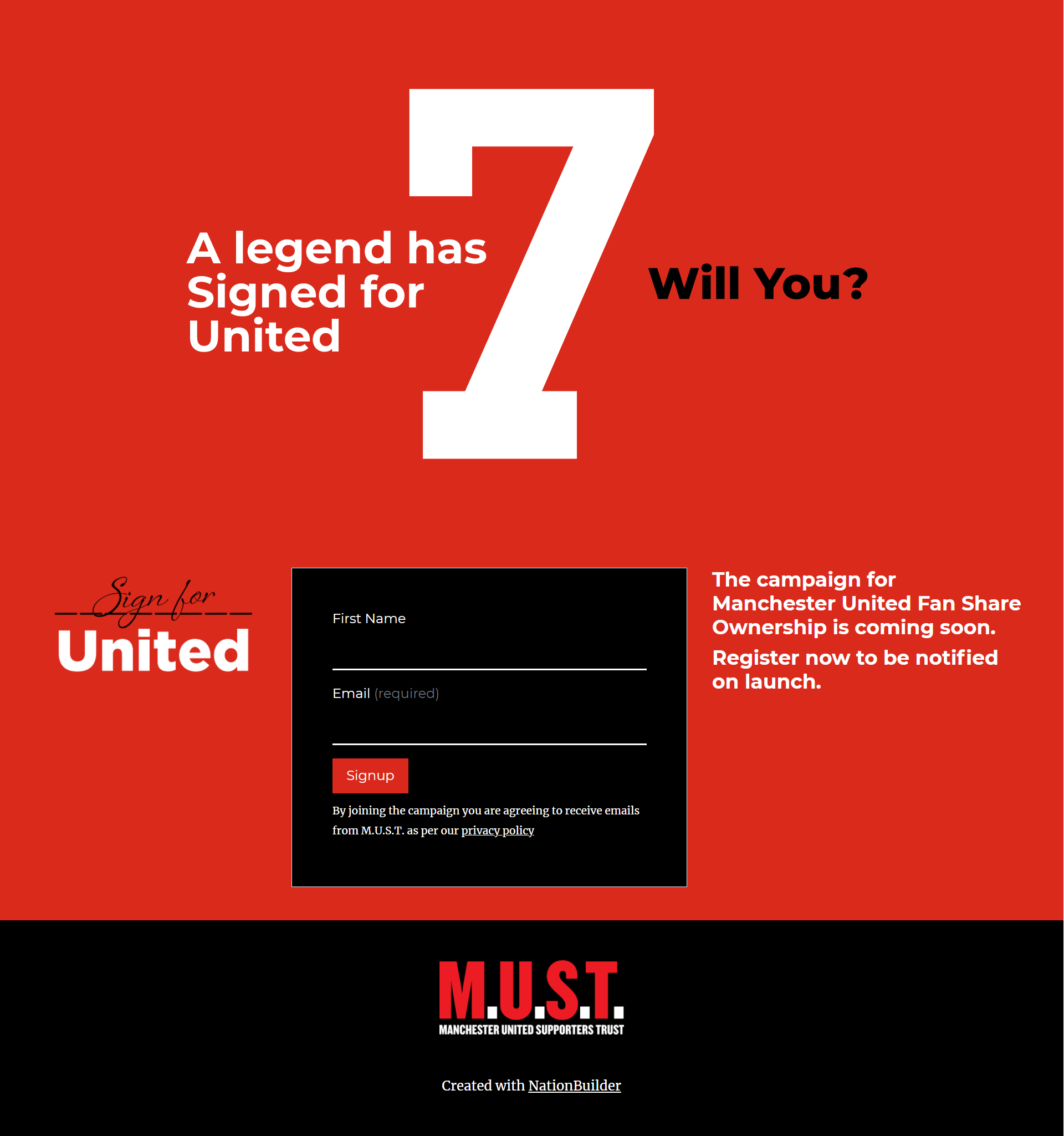Sign For United due to launch soon - pre-register here