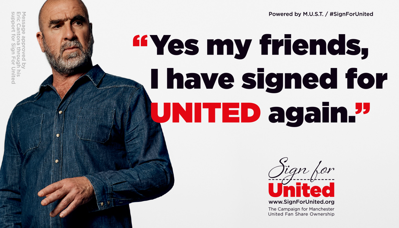 ERIC CANTONA IS FIRST TO 'SIGN FOR UNITED' – HUGE GLOBAL FANBASE ENCOURAGED TO FOLLOW HIS LEAD
